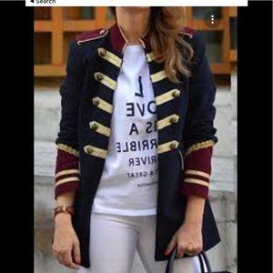 NWT Zara band style velvet blazer jacket